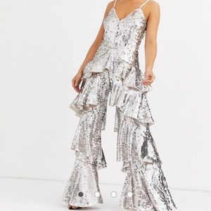 Silver sequin jumpsuits tiered ruffle legs